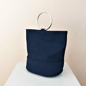 a83be9446f Vegan Suede Metal Ring Bucket Bag