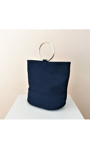 Vegan Suede Metal Ring Bucket Bag