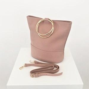 Vegan Suede Metal Ring Bucket Bag