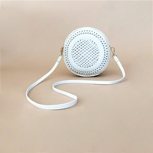Criss Cross Weave Round Handbag