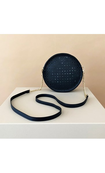 Cut Out Pattern Round Handbag