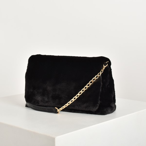 Faux Fur Chain Croc Handle Handbag