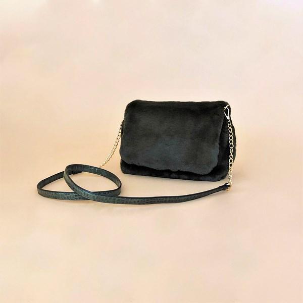 Faux Fur Chain Croc Handle Handbag