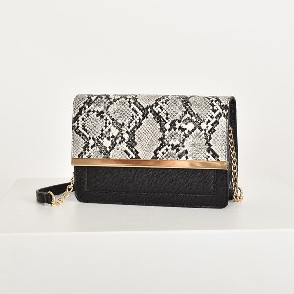 Faux Reptile Flap Over Handbag