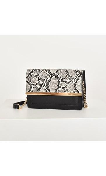 Faux Reptile Flap Over Handbag