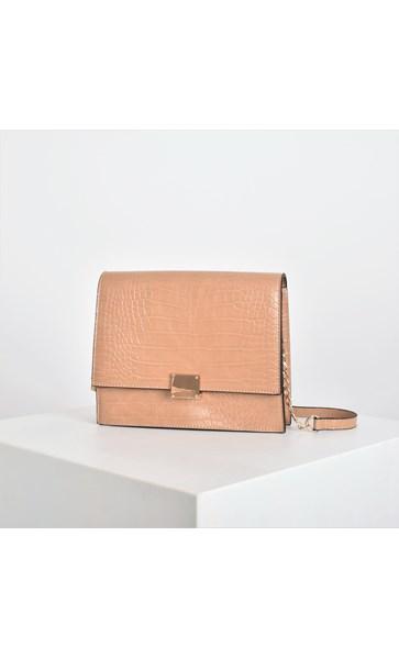 Metal Detail Faux Croc Small Bag