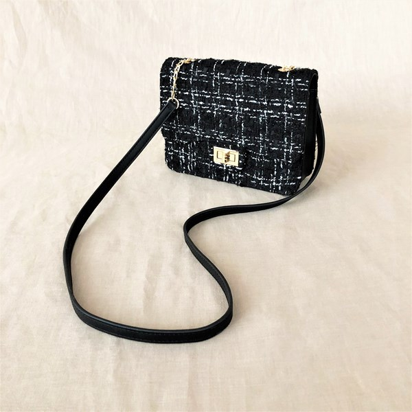 Quilted Boucle Buckle Front Handbag