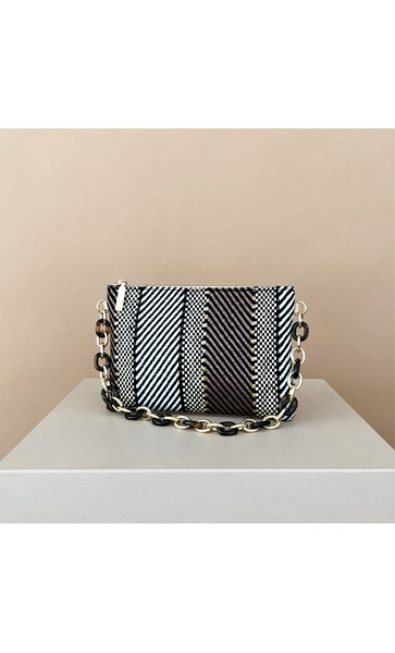 Resin Chain Handle Weave Small Bag