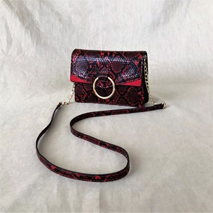 Ring Front Faux Snake Handbag