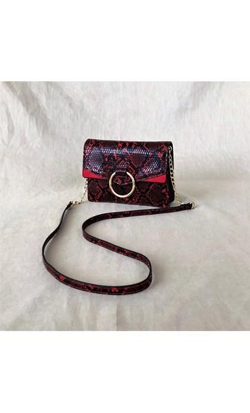 Ring Front Faux Snake Handbag