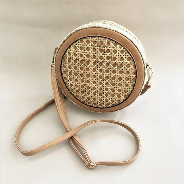 Wicker Front Round Handbag