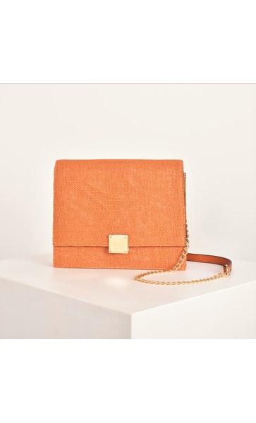 Hessian Weave Fold Over Sleek Small Bag