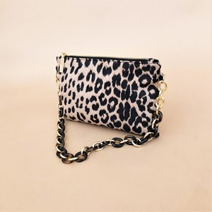 Resin Chain Handle Leopard Print Small Bag