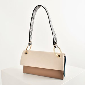 Tri Compartment Snake Print Handle Shoulder Bag
