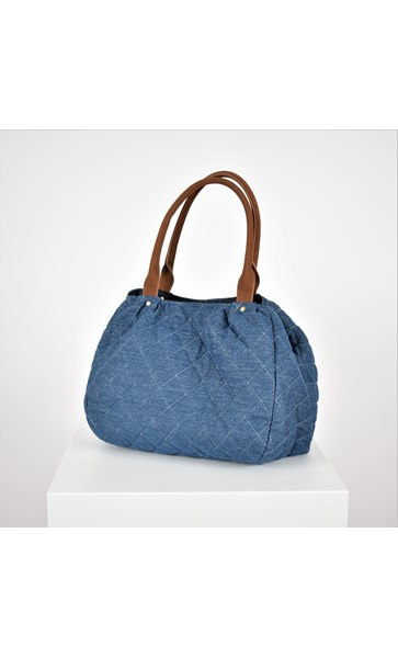 Quilted Denim Vegan Suede Handle Bag