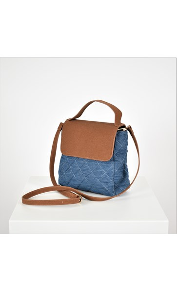 Quilted Denim Vegan Suede Mini Bag