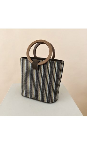 Woven Stripe Timber Ring Bucket Bag