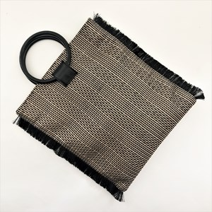 Metallic Weave Fringe Edge Resin Ring Clutch