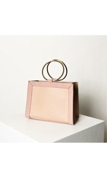 Textured Tri Tone Metal Ring Handle Bag