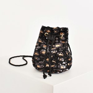 Sequin Leopard Mini Drawstring Bucket Bag