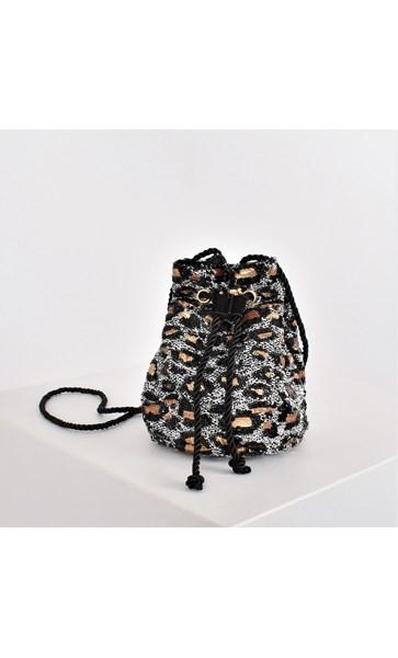 Sequin Leopard Mini Drawstring Bucket Bag