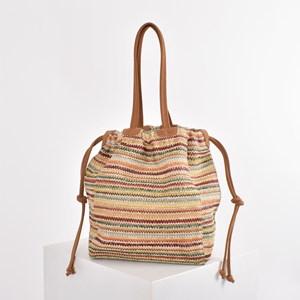 Woven Stripes Suede Trim Drawstring Bag