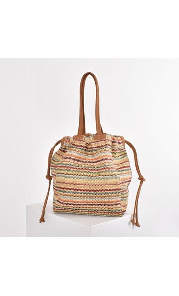 Woven Stripes Suede Trim Drawstring Bag