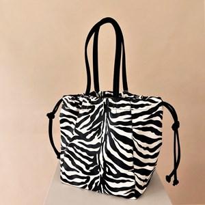 Zebra Print Suede Trim Drawstring Bag
