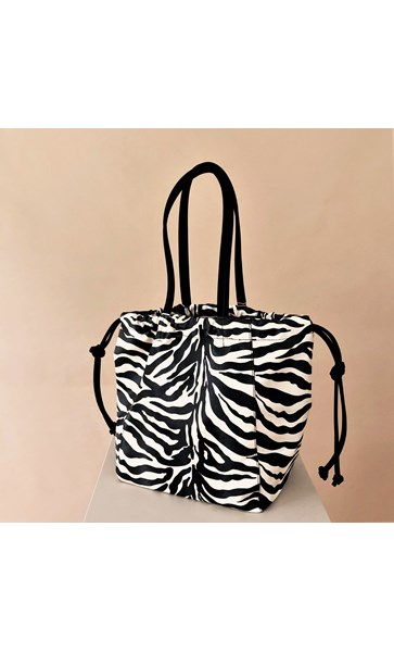 Zebra Print Suede Trim Drawstring Bag