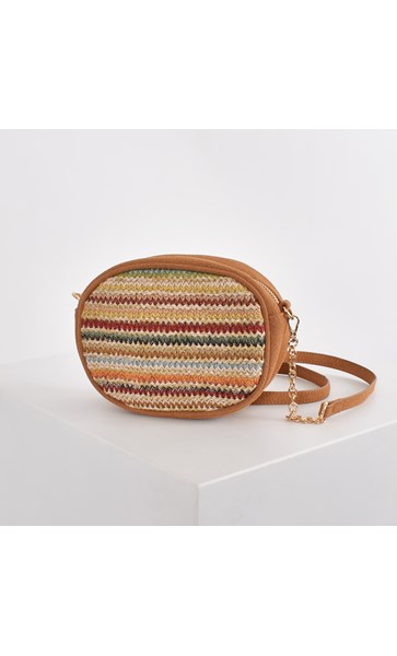 Woven Stripes Suede Trim Mini Oval Bag