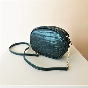 Embossed Croc Mini Oval Bag
