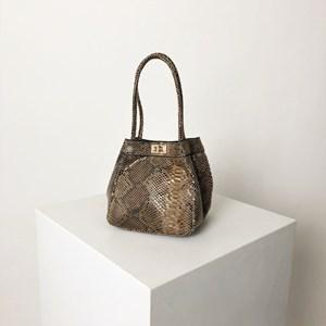 Snake Print Mini Bucket Bag