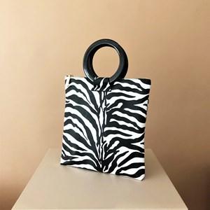 Zebra Print Resin Ring Mini Tote Bag