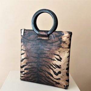 Tiger Print Resin Ring Mini Tote Bag