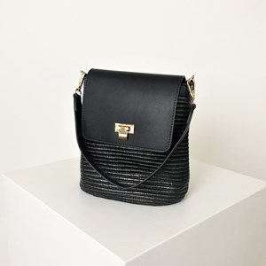 Smooth Fold Over Woven Bucket Bag