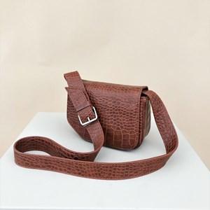 Angled Corner Croc Fold Over Small Bag