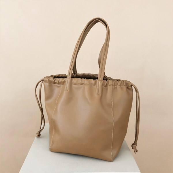 Drawstring Smooth Vegan Leather Handbag
