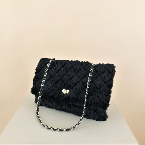 Quilted Fur Fold Over Chain Handle Bag