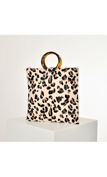 Abstract Leopard Print Resin Handle Tote