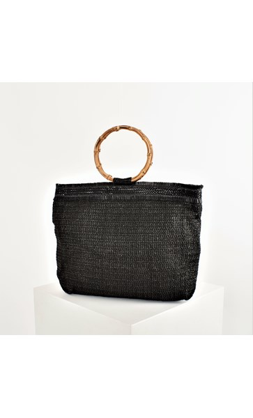 Bamboo Ring Fringe Top Woven Tote Bag