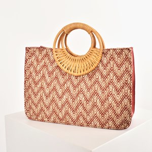 Woven Canggu Rattan Handle Tote Bag