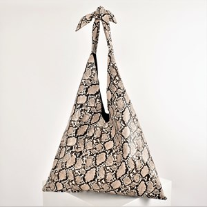 Snake Print Tie Handle Slouch Tote