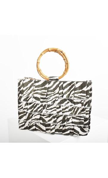 Zebra Print Weave Ruffle Bamboo Tote Bag