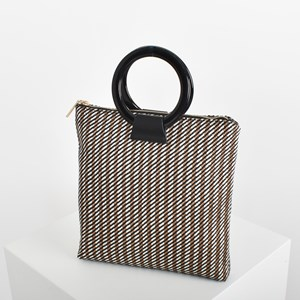 Woven Stripes Resin Ring Mini Tote Bag