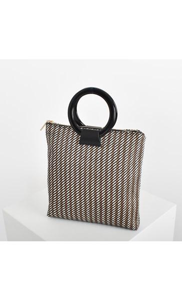 Woven Stripes Resin Ring Mini Tote Bag