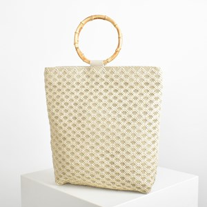 Bamboo Handle Weave Tote