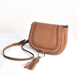 Vegan Suede Plaited & Tassel Saddle Bag