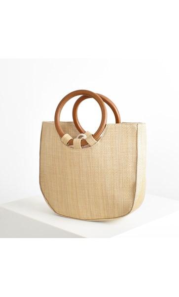 Timber Ring Handle Woven Basket Tote Bag