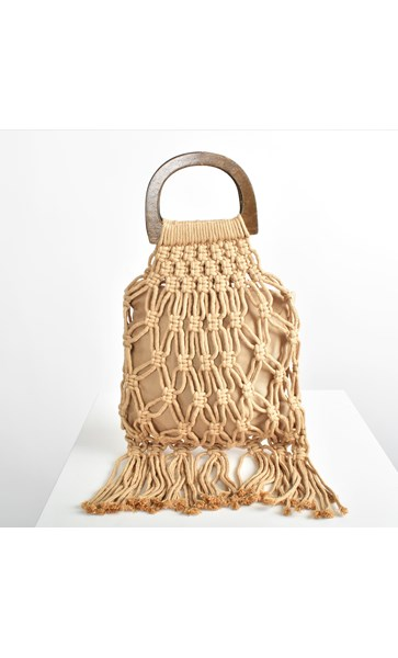 Open Macrame & Fringe Timber Ring Tote Bag