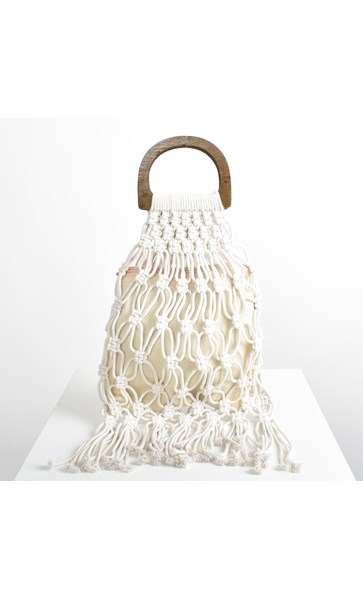 Open Macrame & Fringe Timber Ring Tote Bag